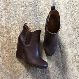 """Coach """"Farah"""" Brown Leather Booties"""
